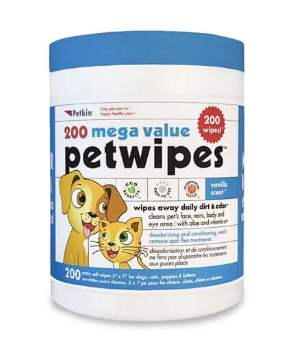 PetKin Mega Value Pet Wipes (200 Wipes)