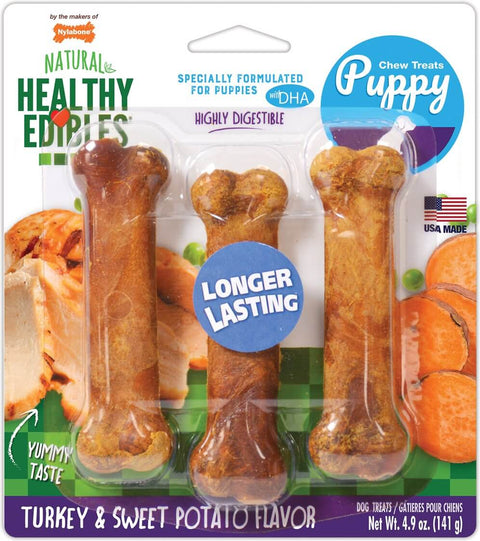 Nylabone Healthy Edibles Longer Lasting Triple Pack Puppy Turkey & Sweet Potato Flavor Dog Bone Treats