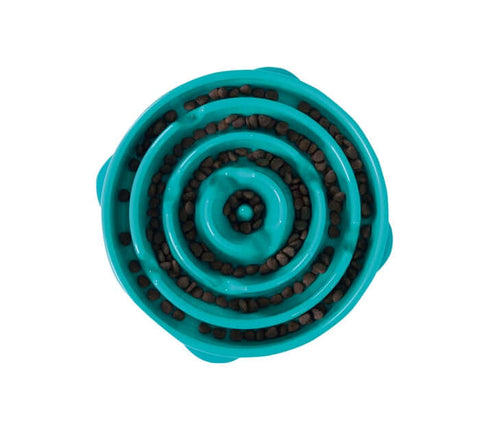 Outward Hound Fun Feeder Slo-Bowl Slow Feeder For Dogs – Teal