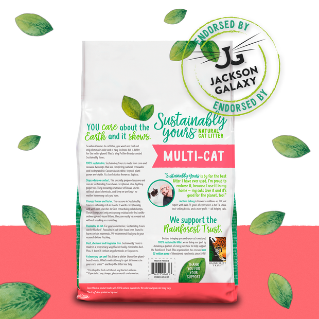 Sustainably Yours Multi-Cat Natural Cat Litter, 13lb