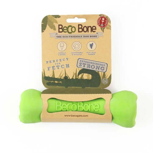 Beco Pets Natural Rubber Treat Chew Bone For Dogs – Green