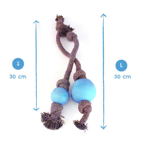 Beco Pets Natural Rubber Ball On Rope Toy For Dogs – Blue