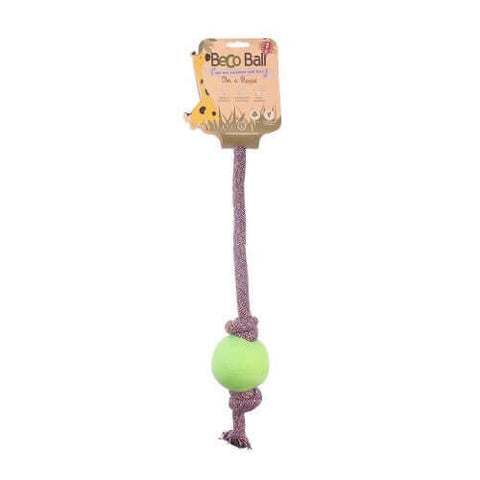 Beco Pets Natural Rubber Ball On Rope Toy For Dogs – Green