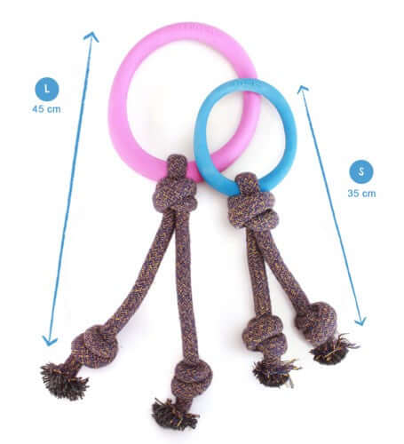 Beco Pets Natural Rubber Hoop On Rope Toy For Dogs – Pink