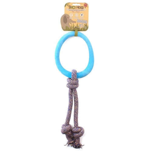 Beco Pets Natural Rubber Hoop On Rope Toy For Dogs – Blue