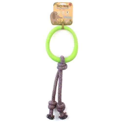 Beco Pets Natural Rubber Hoop On Rope Toy For Dogs – Green