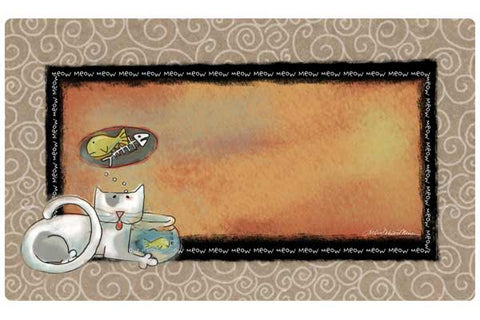 Dry Mate Cat Litter / Bowl Placemat Fish Kitty – Beige