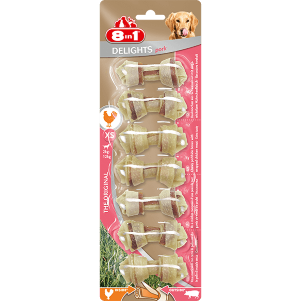 8in1 Bones Delights Pork XS 7pcs Treats For Dogs