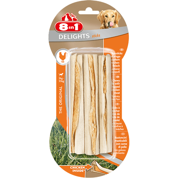 8in1 Bones Delights Twisted Sticks Chicken 10pcs Treats For Dogs