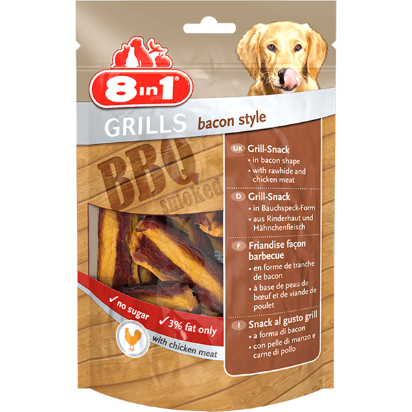 8in1 Grills Bacon Style/Chicken 80g Treat For Dogs