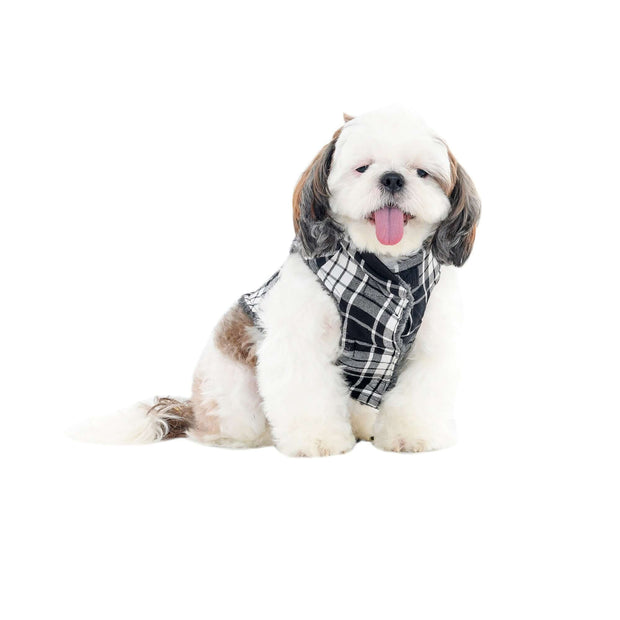 Checkered Black & White Extra Warm Winter Jacket For Dogs