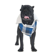 Extra Warm Checkered Blue & White Winter Jacket For Dogs