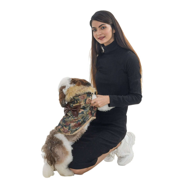 Brown Floral Printed Extra Warm Winter Jacket For Dogs