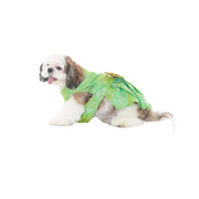 Wedding/Festive Traditional Designer Green Printed Silk Dress/Frock For Dogs