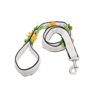 Designer Floral Embellished Velvet Leash And Collar Set For Dogs – White