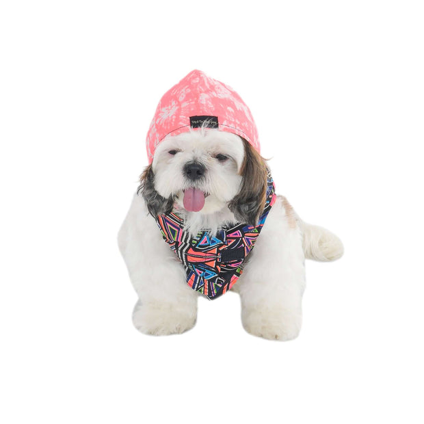 Designer Pink Printed Hooded T-Shirt For Dogs