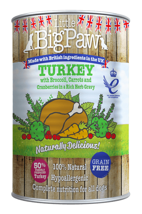 Little BigPaw Turkey with Broccoli, Carrots and Cranberries in a Rich Herb Gravy for Dogs (390 gms)