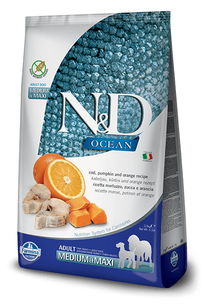 N&D Ocean Grain Free Cod Fish, Pumpkin & Orange Adult Dog Food (Medium & Maxi Breeds)