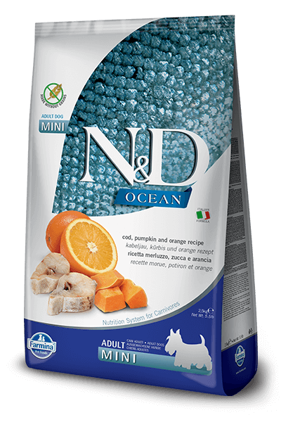 N&D Ocean Grain Free Cod Fish, Pumpkin & Orange Adult Dog Food (Mini Breeds)