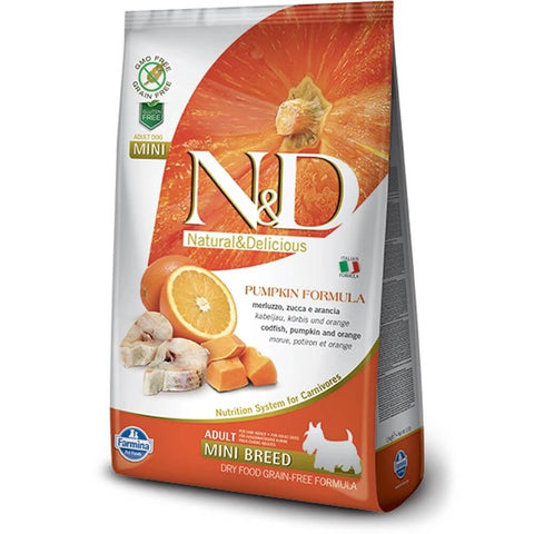 N&D Pumpkin Grain Free Codfish & Orange Adult Dog Food (Mini Breed)