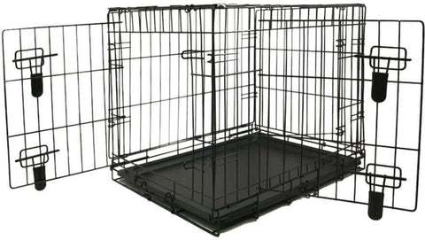 Nutra Pet Black Double Door Metal Cage/Crate/Kennel With Removable Tray For Dogs/Cats