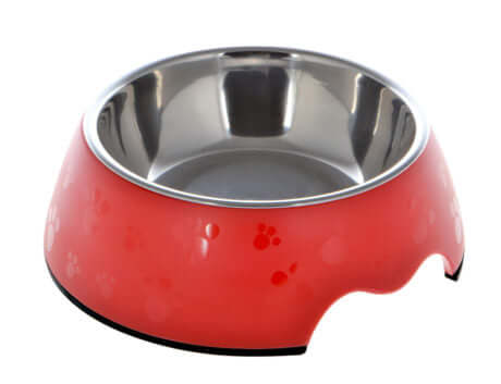 Nutra Pet Melamine Round Paw Print Feeder Bowl- RED