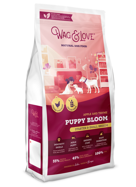 Wag & Love Natural Dog Food- Puppy Bloom (Starter & Small Breeds)