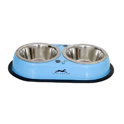 Pets Empire Double Diner For Dogs – Blue