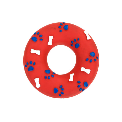 Pets Empire Red Squeker Donut Toy For Dogs