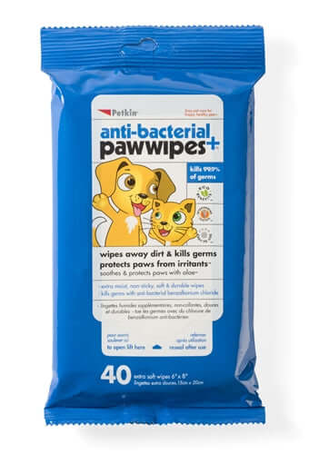 PetKin Anti-Bacterial Paw Wipes (40 Wipes)