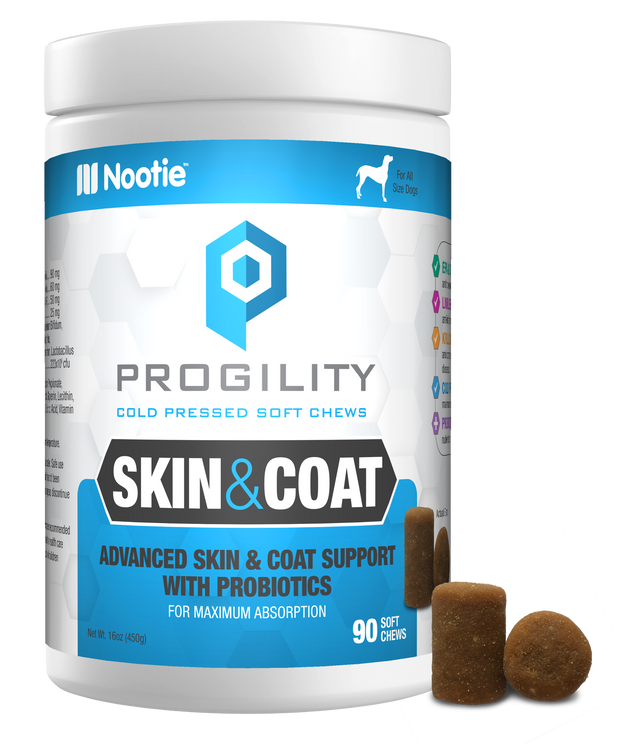 Progility Skin & Coat With Probiotics – 90 Soft Chews For Dogs