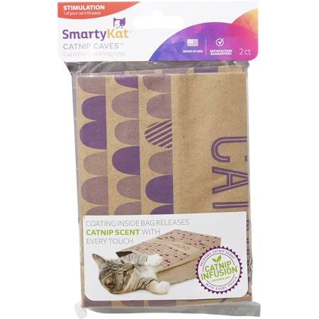 SmartyKat Catnip Caves (Pack Of 2)- Catnip Infused Bag Toys
