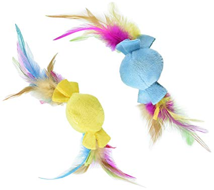 SmartyKat Flutter Drops- Feathery Catnip Ball (Pack Of 2)