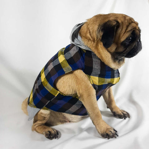 Blue Checks Hoodie T-Shirts For Dogs
