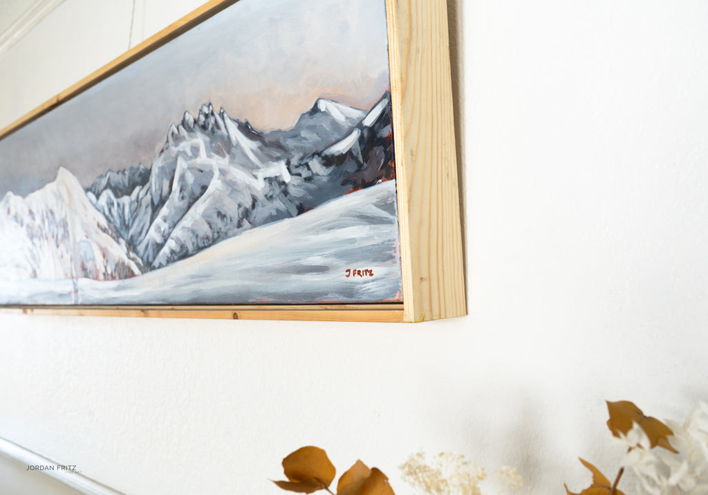 Alpenglow from Hišimy̓awiƛ/5040 Peak | 12 x 48 | Framed Original Acrylic Painting