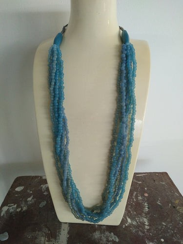 Necklace - Multi-strand Blue Resin Sea Glass Beachy