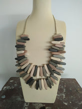 Necklace - Brown/Natural Wood Oval Beads -  Double Strand Adjustable length