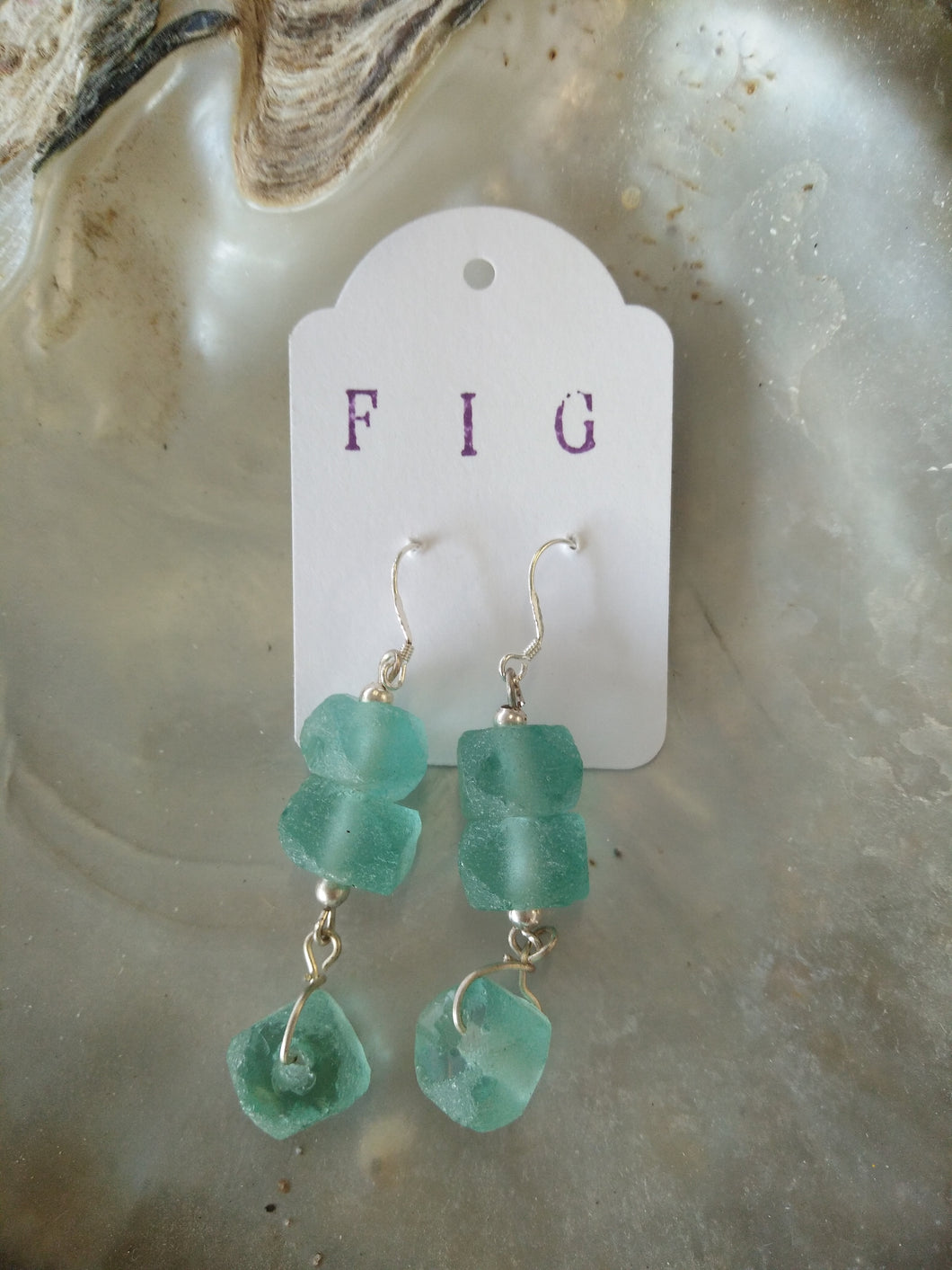 Earrings - Pale Aqua Green Genuine Sea Glass Beachy