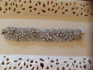 Bracelet - Bridal Handmade flowers on mesh crystal with Diamante Clasp