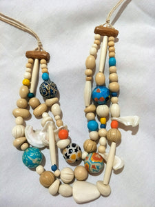 Necklace - 3 Strand, wood, shell and resin. Adjustable length