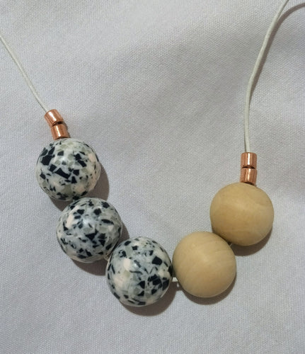 Necklace - Wooden ball and marble look acrylic beads. Adjustable Length