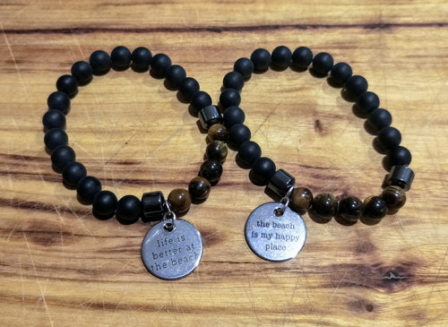 One for your Merman - Tiger Eye beads mens bracelet with beach theme tag