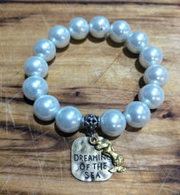 Dreaming of the Sea Bronze Tag Faux Pearl Bracelet
