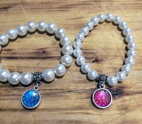 Essential Mermaid Item! 10mm Faux Pearl Bracelet with Double sided Fish scale Dangle.