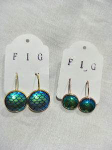 Earrings - Blue Green Iridescent Resin Fish Mermaid Scale