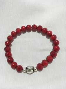 Bracelet - unisex,  mens red glass bead stone.