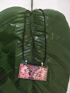 Tropical Pink Flower Art Glass Necklace