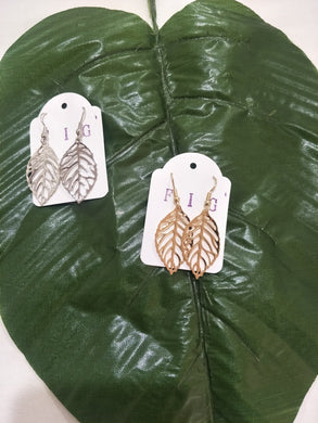 Tropical Filigree Leaf Earrings