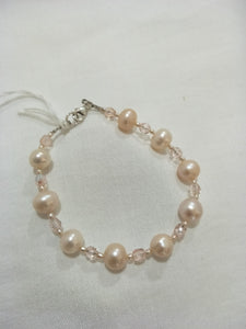 Bracelet - Pink Freshwater Pearls with Czech Crystals
