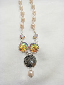 Mermaid Necklace - pink freshwater Pearl